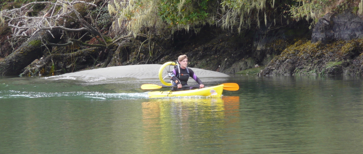 Julian McClanahan on a kayak with the ThrustPac